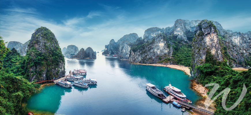 Boats Moored at Limestone Island, Halong Bay