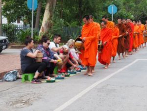 Agents Giving Alms in Luang Pranang, Laos, a whirlwind visit through indochina