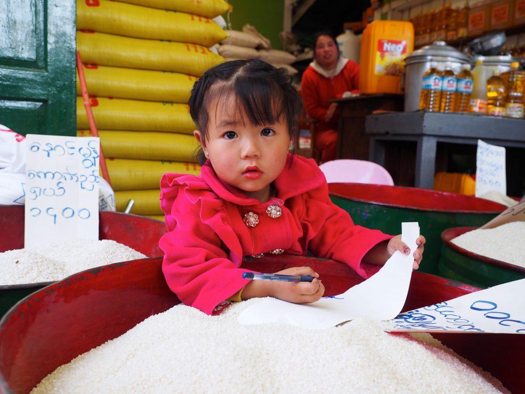Local School Girl, Kalaw Market in focus myanmar