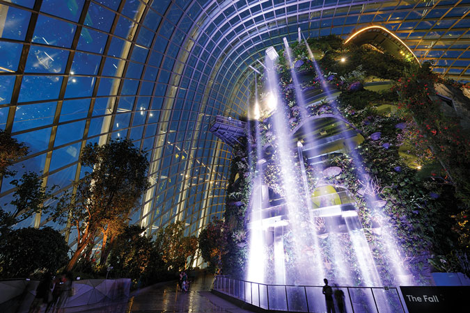 Cloud Forest Waterfall at night (image credit: Gardens By the Bay)