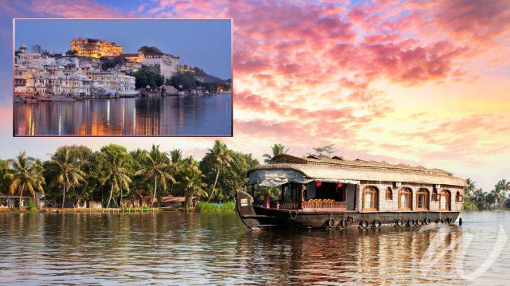 Kerala Backwaters, inset Udaipur City Palace, kerala vs rajasthan