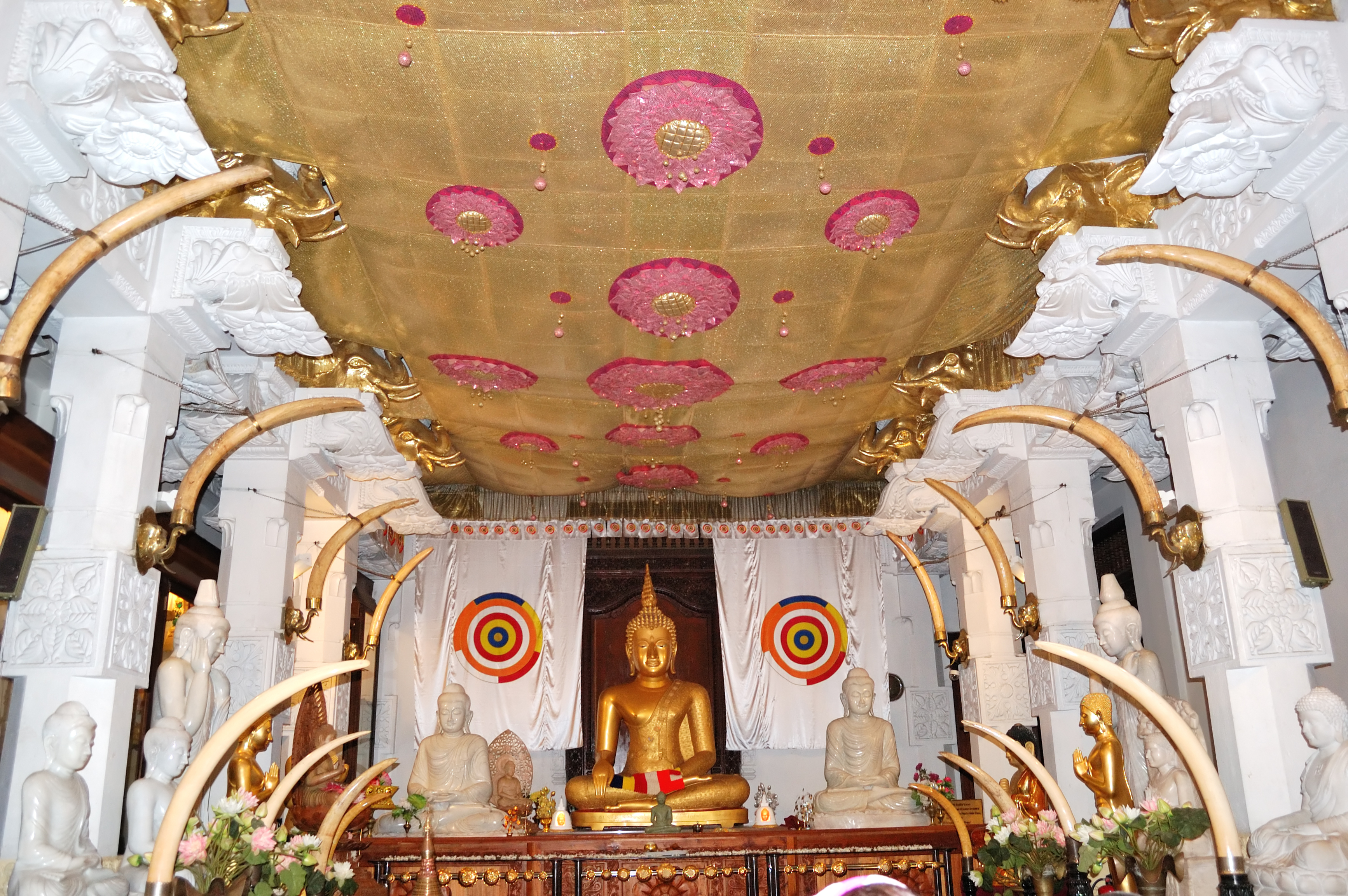 Interior Sacred Tooth Relic Temple, focus on sri lanka