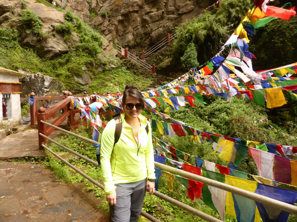 Zoe on the climb to Tiger's Nest, Paro, Bhutan, Tiger's Nest Monastary