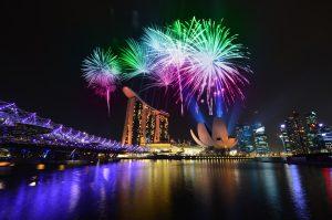Fireworks over Marina Bay Sands, Hong Kong vs Singapore