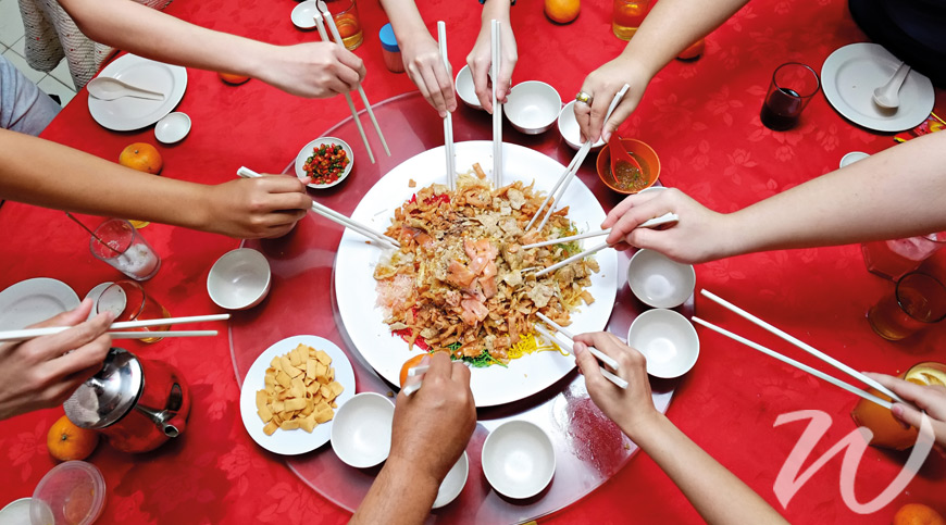 A Group Enjoy Chinese Cuisine