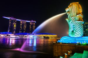 Merlion & Marina Bay Sands Skyline, Singapore