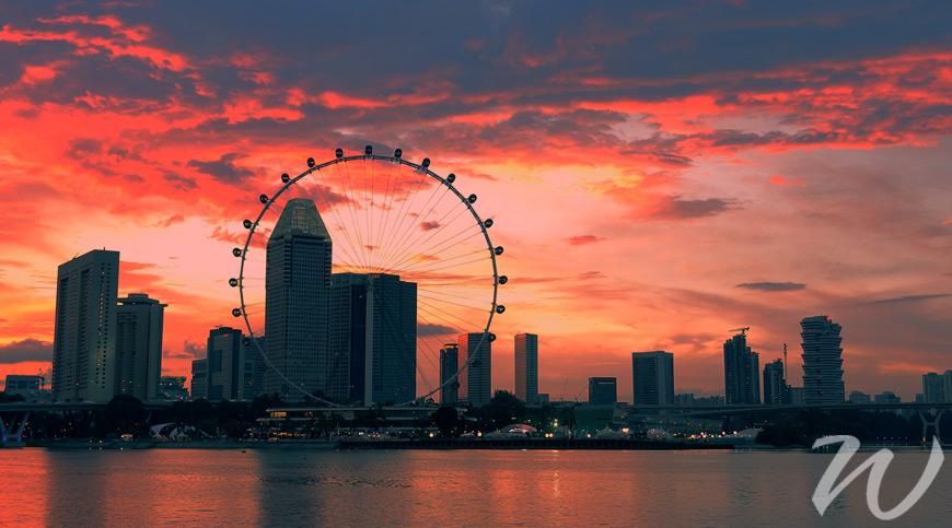 Singapore Skyline at sunset, singapore