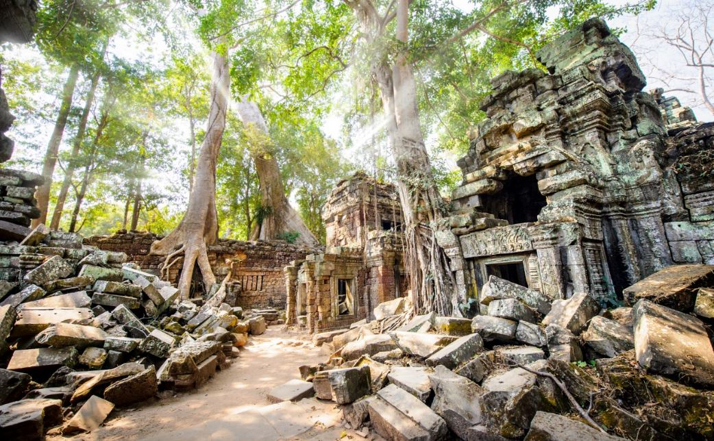 Intriguing architecture of Ta Prohm, Cambodia, travel photography