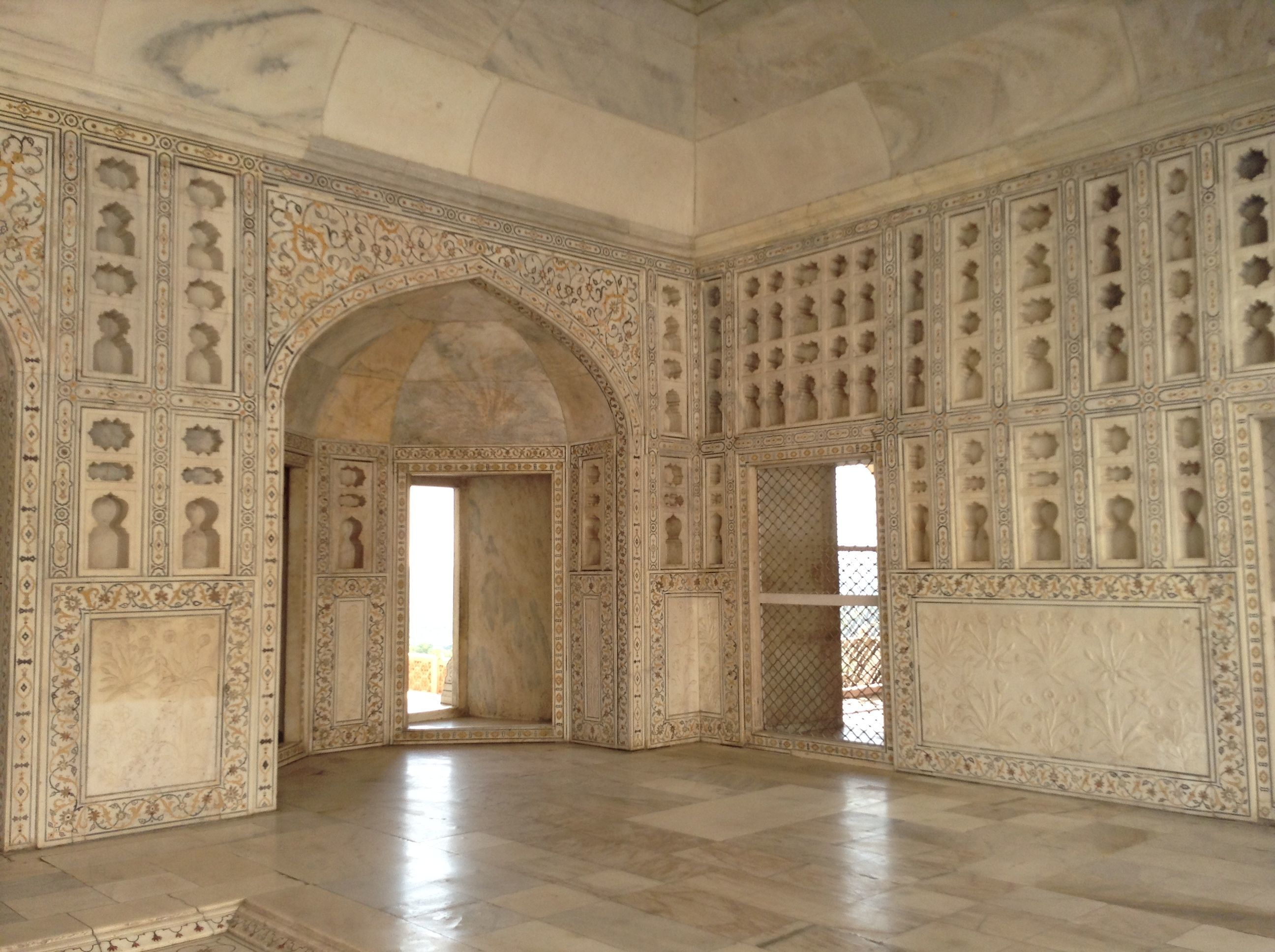 Inside Agra Fort - so ornate, golden triangle india