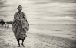 Morning alms on the beach, travel photography