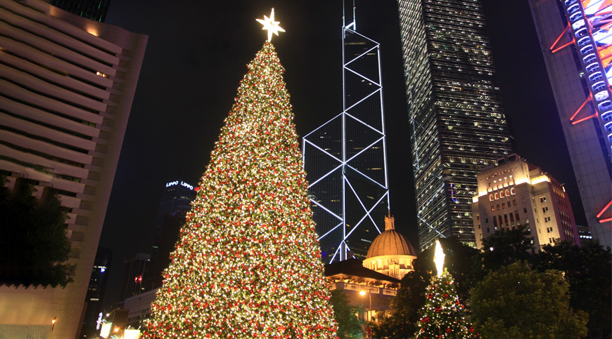 Christmas Tree, Hong Kong, asia winter