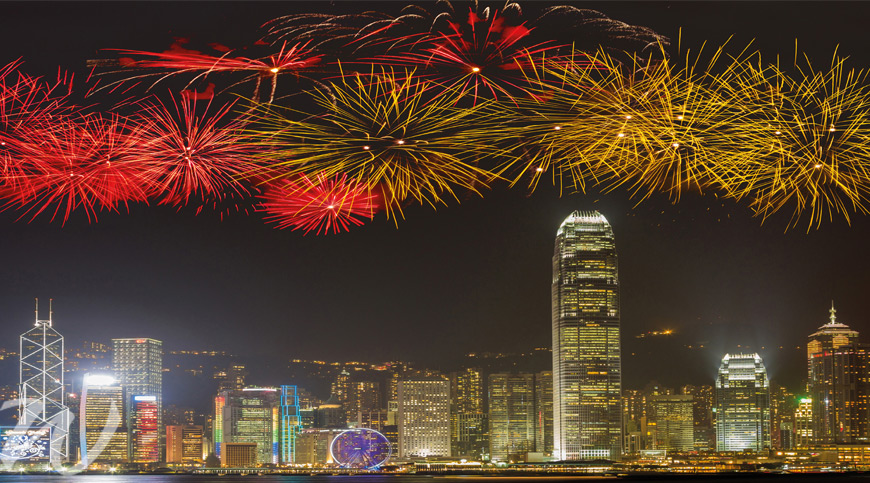 Fireworks-over-Hong-Kong-Island, year of the dog