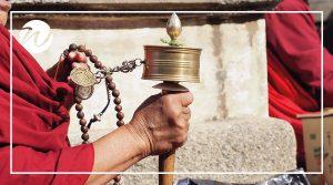 Prayer Wheels & Monks, Tibet