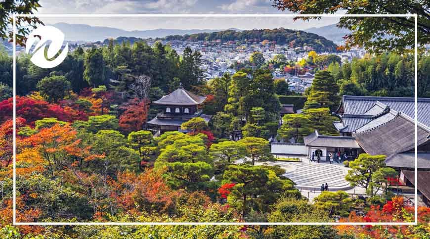 Colour autumn views across Kyoto
