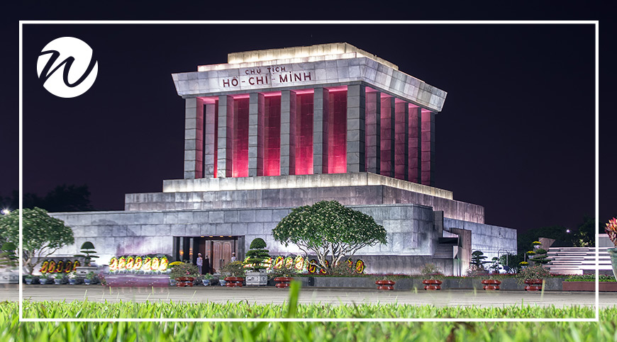 The imposing Ho Chi Minh Mausoleum, Hanoi