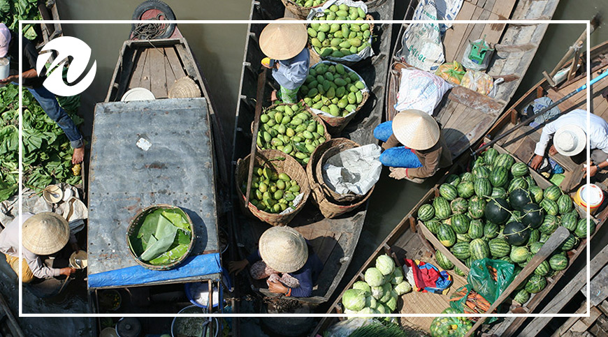 Colourful floating markets of the Mekong Delta