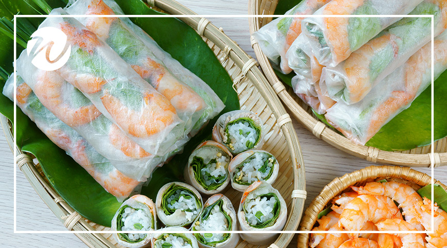 Delicious rice paper rolls