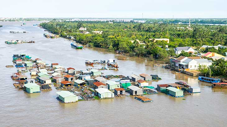 Group of floating houses in fishing village