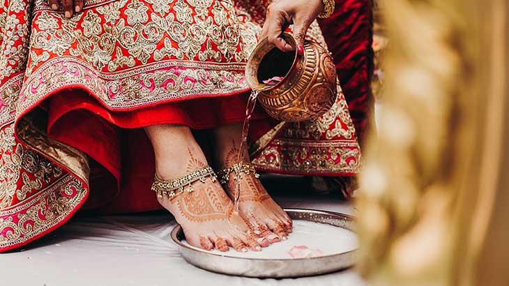 mehendi and washing of brides feet