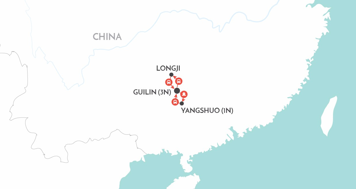 Guilin, Yangshuo & Longji map