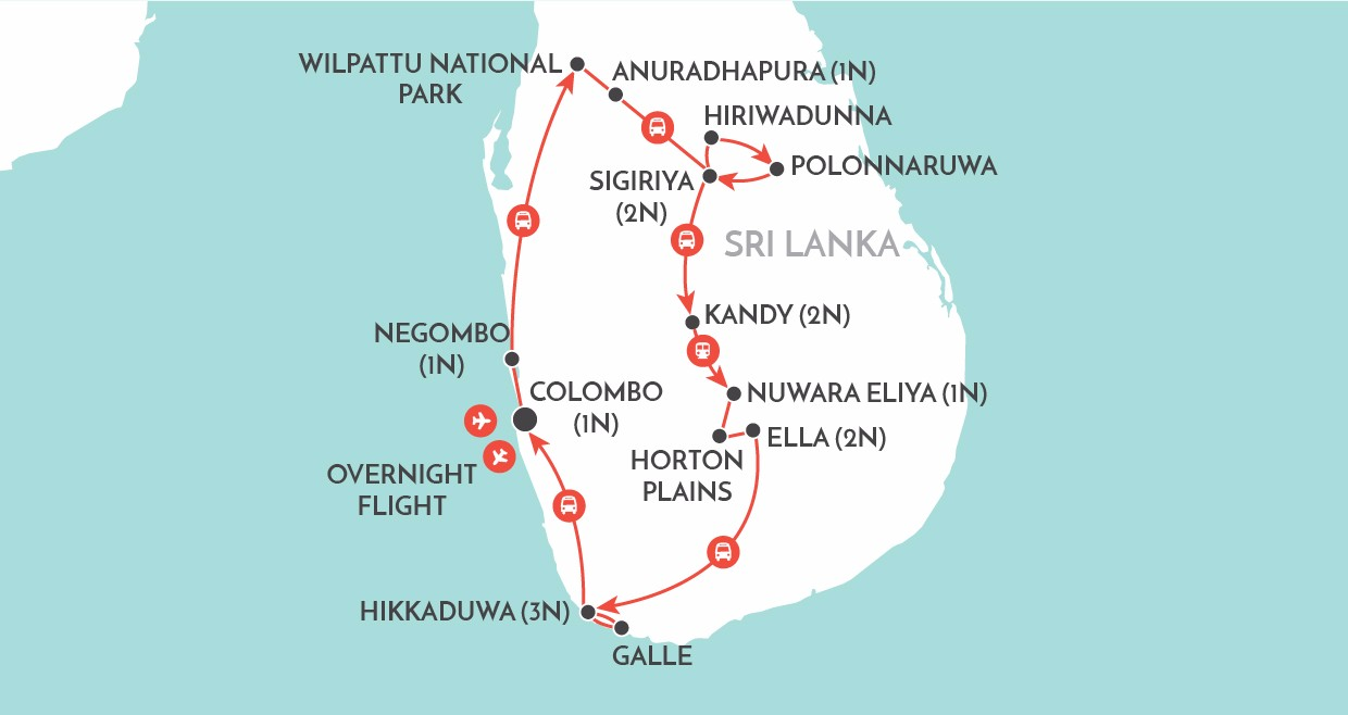 Spirit of Sri Lanka map