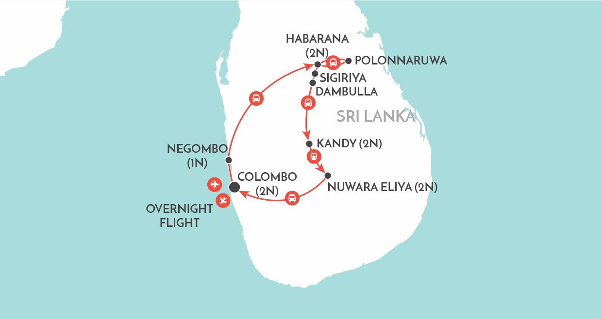 Charms of Sri Lanka map