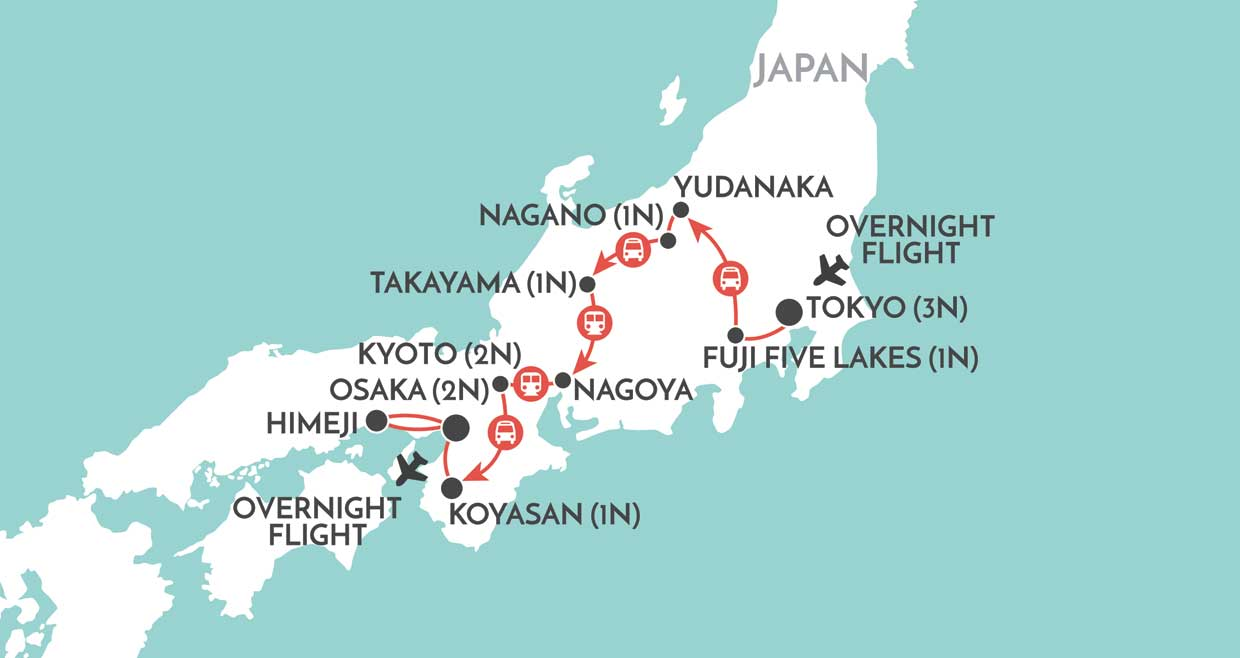 Trails of Japan map