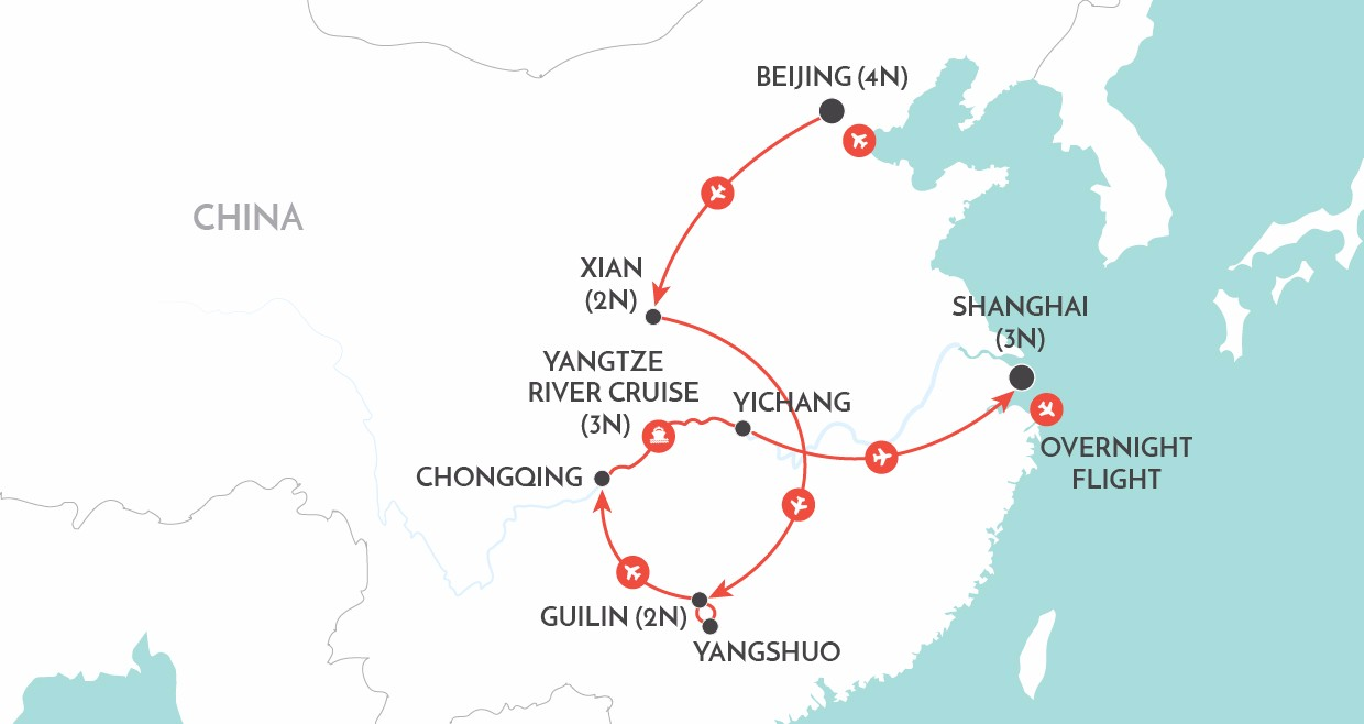 Traveller Readers Tour - China map