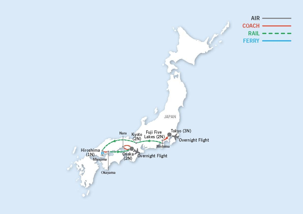 Traveller Tour: See Japan map