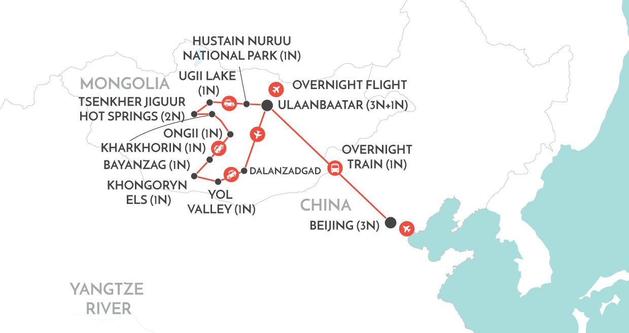 Trans Mongolian Journey map
