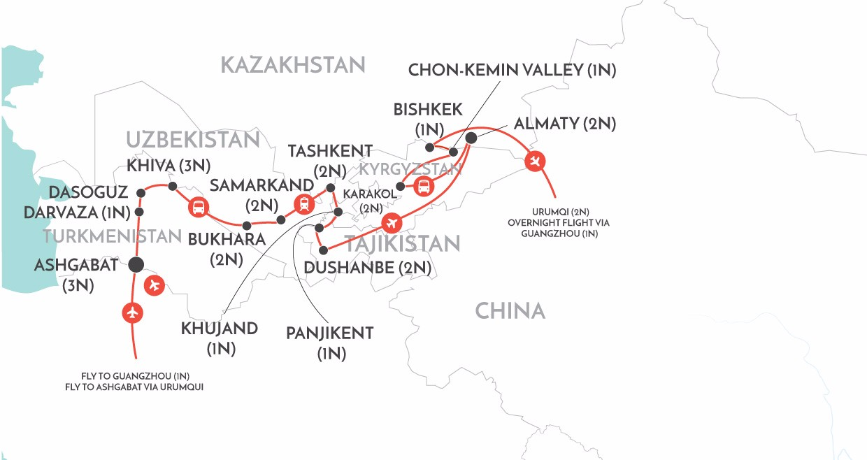 Ancient Lands of Central Asia map