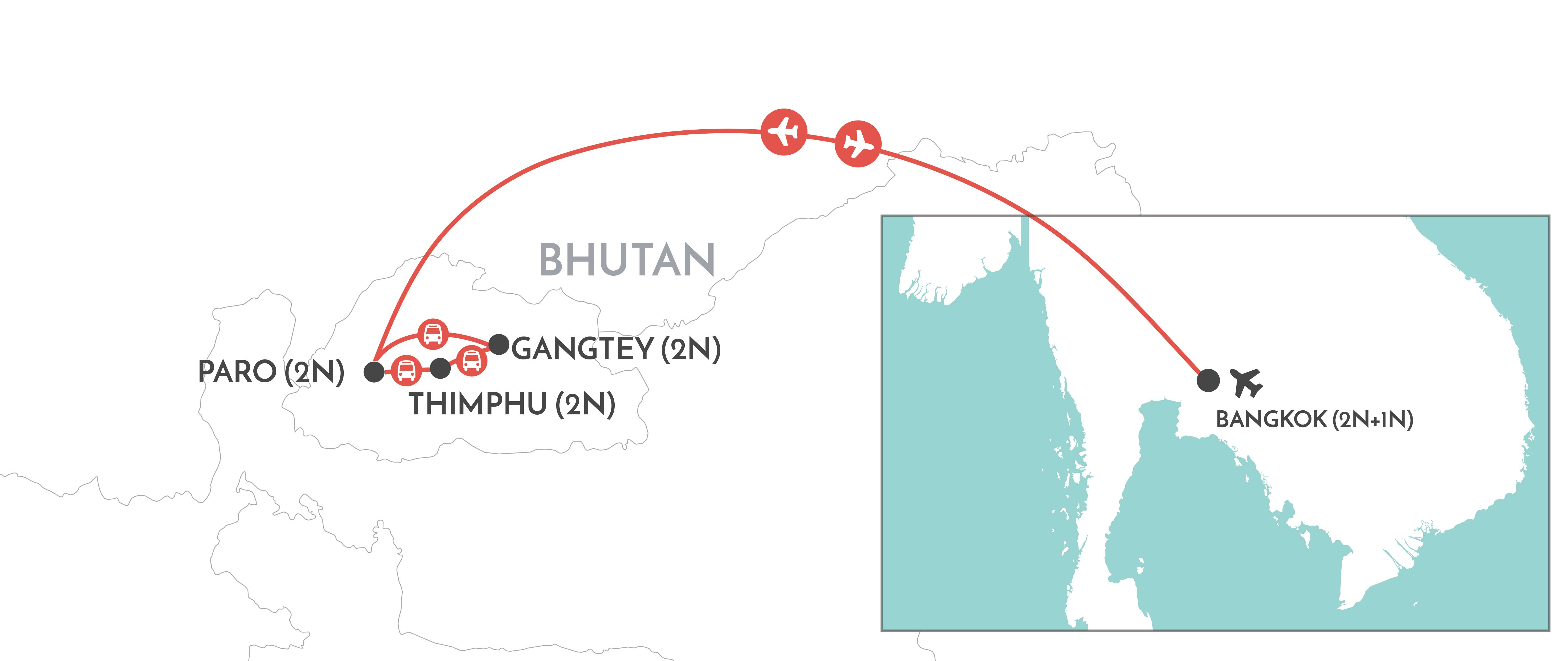 Traveller Tour: Bhutan map