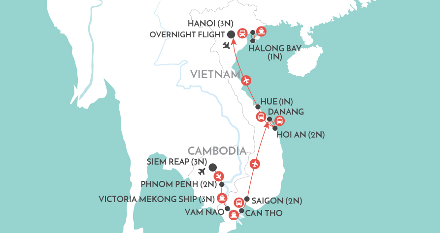 Mekong Discovery Private Tour map