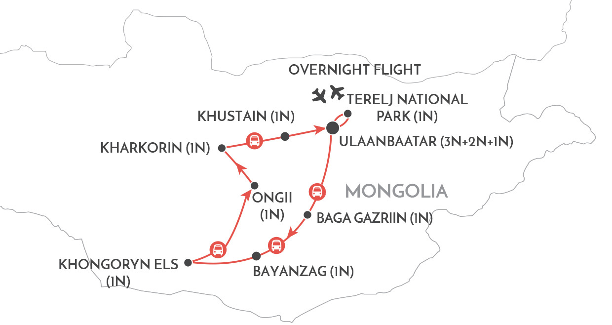 Mongolia and Naadam Highlights map