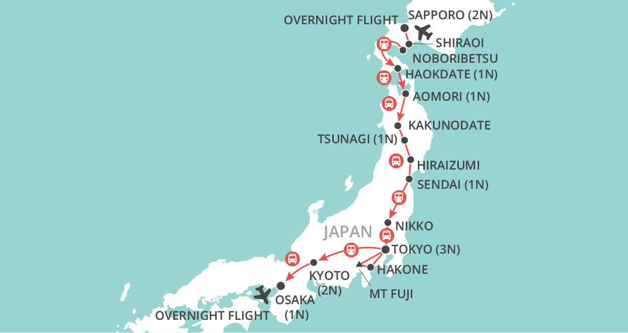 Journey through Japan map