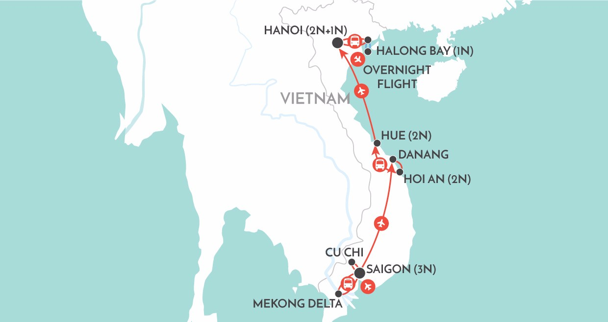 Jewels of Vietnam map