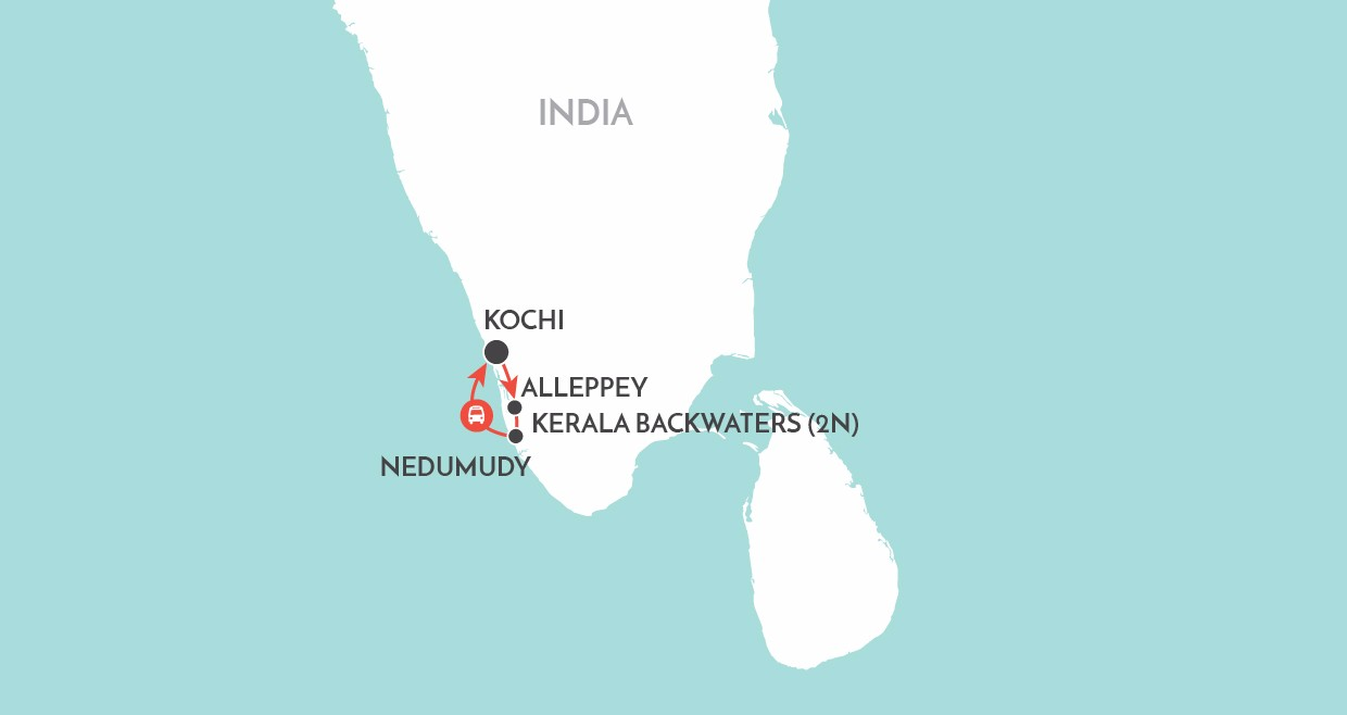 Kerala Backwaters map