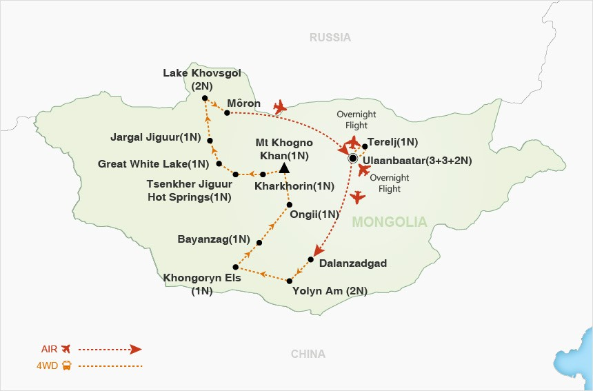 Mongolia and the Naadam Festival map