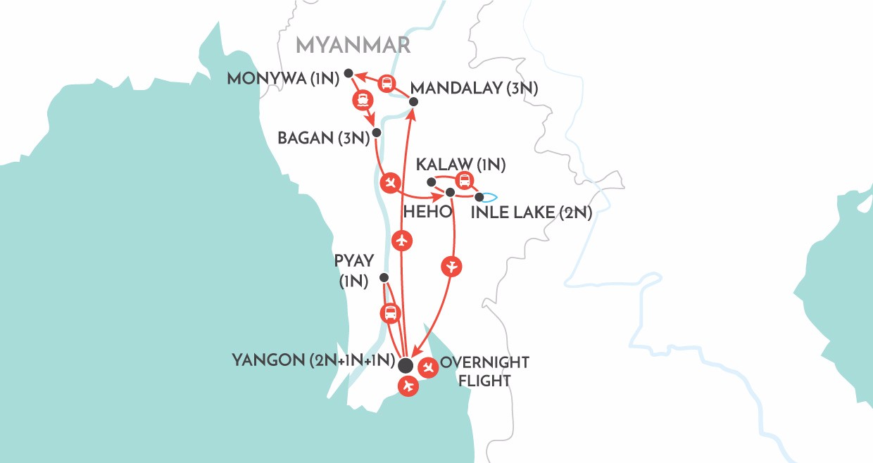 Hidden Treasures of Myanmar map