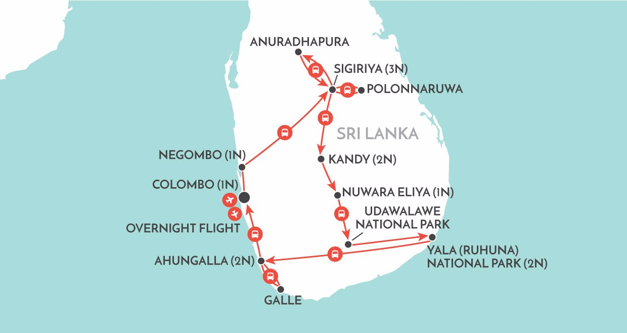 Highlights of Sri Lanka map