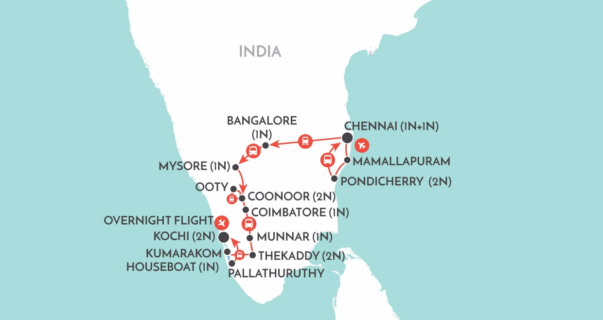 Kerala & the Southern Highlights map