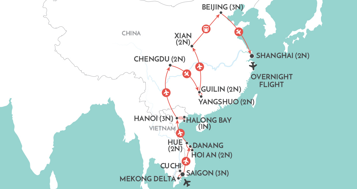 Treasures of Vietnam & China map