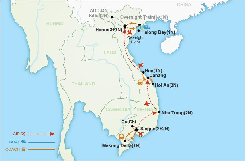 Vietnam Highlights map