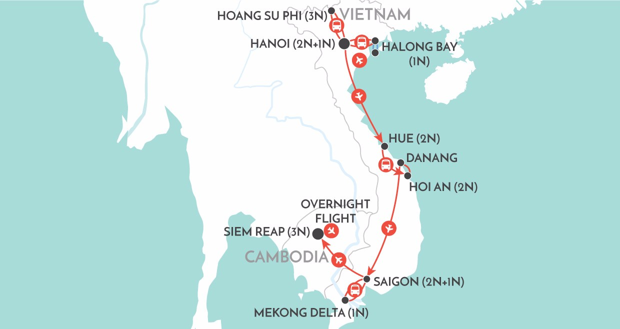 Vietnam & Cambodia Discovery map
