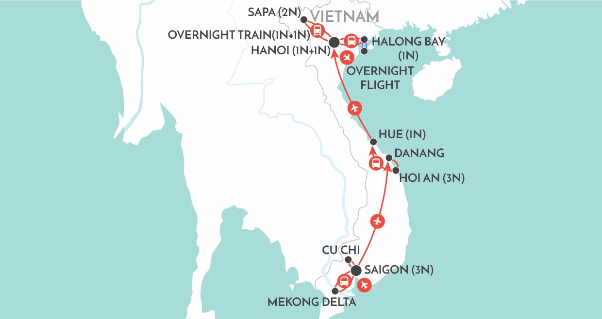 Vietnam Trails map